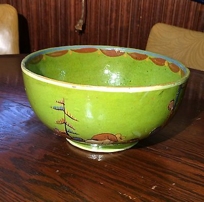 """Old vintage Mexican Pottery Tlaquepaque Bowl Green  9.5"""" Tourist"""