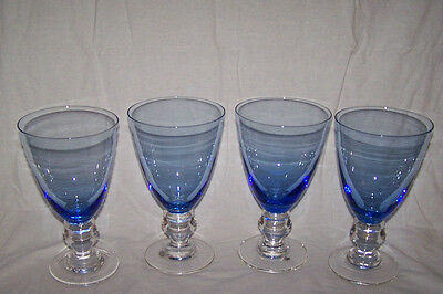(4) Mikasa Iced Tea Water Goblet Beverage Glasses Provence Blue 16 Ounce