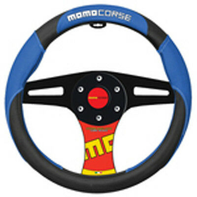 """1 Momo Italy Corse Steering Wheel Cover Blue Black White Fits ALL MODELS 14"""" 15"""""""