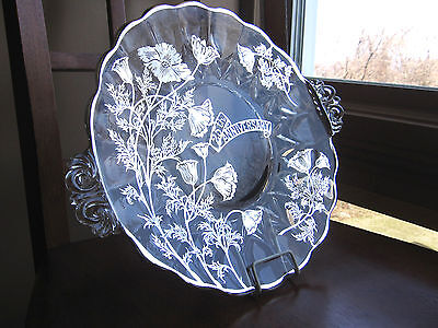 New Martinsville Janice 25th Anniversary Silver Overlay 2 Handled Plate MINT !