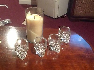 New Crystal Skull Head Vodka Whiskey Shot Glass Cup Drinking Ware - Qty 4