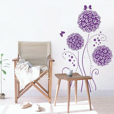 New Purple Flower Romance DIY Removable Wall Decal Art Words Home Decor Stickers
