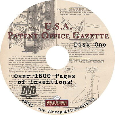 1887 US Patent Office Gazette {1600 pgs ~ Inventions ~ Quackery} on DVD