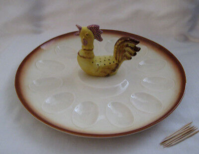 "California Pottery USA Deviled Egg with Chicken Serving Dish 11"" in dia"