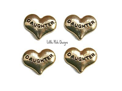 Gold 'Daughter' Heart Floating Charm for Living Memory Locket Family Charms