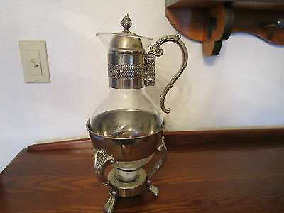Antique Silverplated Coffee Decanter with Tealight Warmer