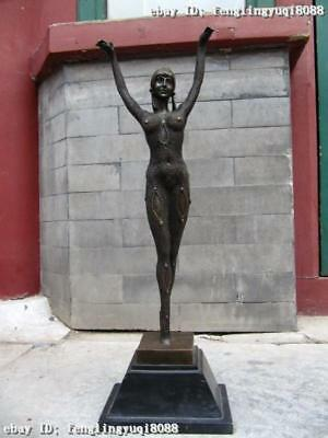 25 Large Great Pure Bronze Copper & Marble dancing girl Beauty Statue Sculpture