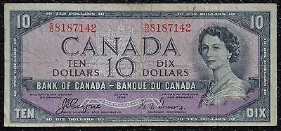 BANK OF CANADA - 1954 $10 DEVIL'S FACE Note Prefix B/D - Signed Coyne & Towers