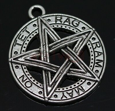 6pcs Tibet Silver Gothic Wicca Paga pentagram Charm Pendant 28x25mm