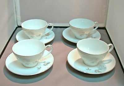 Noritake China Rosay, (4) Flat Cup and Saucer sets (One has small chip)