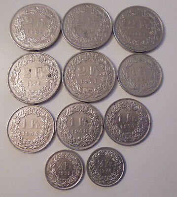 LOT OF 11 X FRANCS SWITZERLAND 1/2-1-2 FRANCS DIFFERENT YEARS