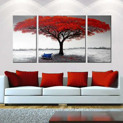 FRAMED Red Tree OIL PAINTING on Canvas - Black & White Abstract Modern Wall Art