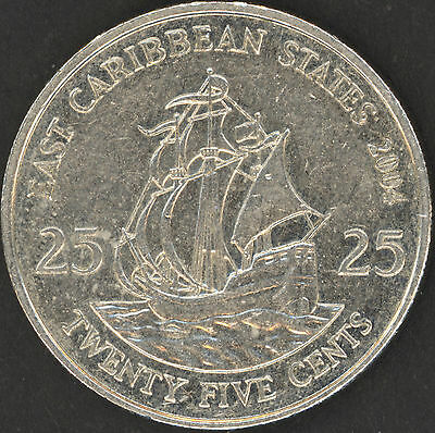 WORLD COINS : EAST CARIBBEAN STATES 25 CENTS 2004 NICE COIN QEII QUEEN ELIZABETH