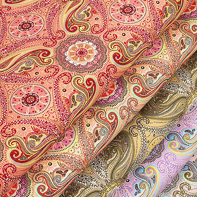 Vintage Flower And Paisley Retro Cotton Fabric Dress Quilting Crafts VK63 per FQ