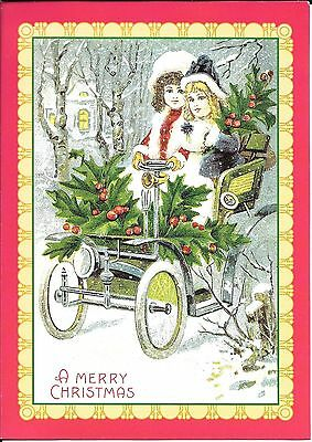 Two Victorian Girls in a Vintage Car - Snowy Night Christmas Cards - Set of 11