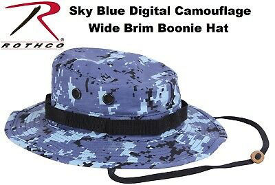 e90ec90cc45 Sky Blue Digital Camouflage Military Wide Brim Tactical Bucket Boonie Hat  5413