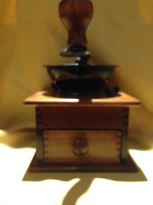WH Co ~ Wood & Iron Coffee Mill With Cast Iron Top – Vintage Coffee Grinder