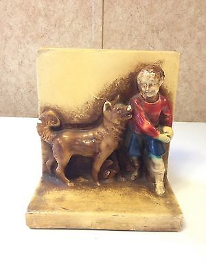 Vintage Chalkware Bookends Child With Dog