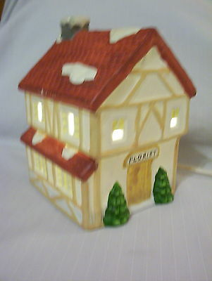 CHRISTMAS HOLIDAY ELECTRIC VILLAGE LIGHTED HOUSE, FLORIST, CERAMIC FIGURINE