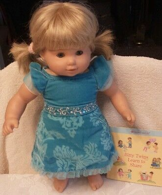 American Girl BITTY TWINS GIRL TWIN Blond BLONDE Hair BLUE Eyes HTF Kanani Dress