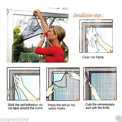 Window Insect Screen Velcro Mesh Net Mosquito Netting Protection Bug Fly Moth