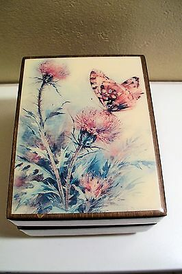 Vintage Reuge Flower & Butterfly Music Box  plays Yesterday