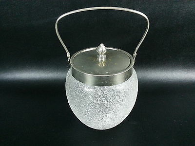Vtg Frosted  Ice Bucket W/ Lid Crackle Glass Finished Metal