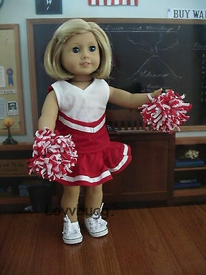 """Maroon Cheerleader for 18"""" American Girl + Bitty Baby Doll Top Clothes Selection"""