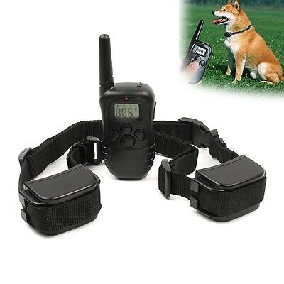 300 Yard Remote Rechargeable Waterproof 2 Dog Pet Shock Collar Electric Trainer
