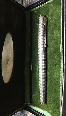 VINTAGE PARKER 75 FOUNTAIN PEN IN STERLING SILVER CISELE, MADE IN USA 14k NIB