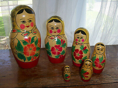 "COMPLETE SET OF 6 NESTING DOLLS 6"" TALL TO 1.5"" WOOD BABUSHKA SCARF"