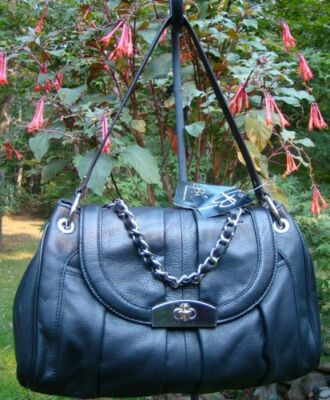 NEW B Makowsky BLACK Vanessa Satchel, LEATHER MSRP $268.00, Chain Detail!