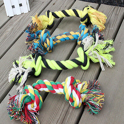 Random color Puppy Baby Dog Pet Toy Cotton Braided Bone Rope Chew Knot