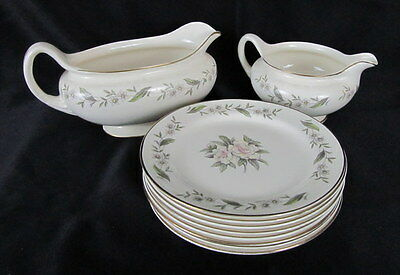 10 Pieces Homer Laughin Nautilus Eggshell Floral Fine China M46 N 5 Gravy Boat