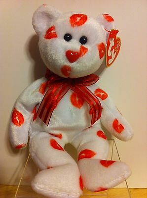 2000 Smooch TY Beanie Baby Bear  red lips kiss ~ excellent