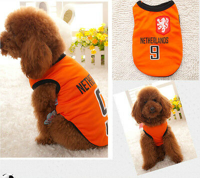 Small Pet Dog Cat Summer wear Clothes T-Shirt Soccer Footall Vest Size:S