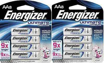 ENERGIZER ULTIMATE LITHIUM AA 2, 8 PACKS-16 TOTAL -SEALED IN PACKAGE- Ex. 2027