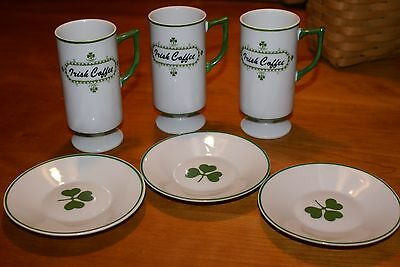 3 Irish Coffee MINI MUGS with 3 IRISH MINI PLATES