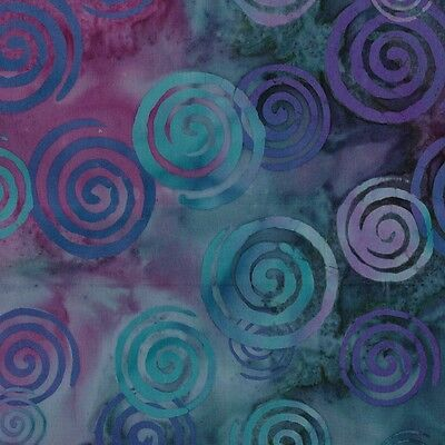 """Teal Purple Spiral Hand Dyed Batik 100% Cotton Fabric Remnant 6""""x 45"""" OOP"""