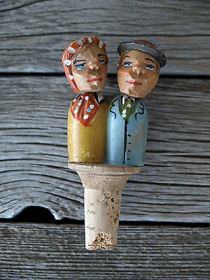 Vintage ANRI Kissing Couple Wine Stopper Cork Hand Carved Wood Italy Works 2