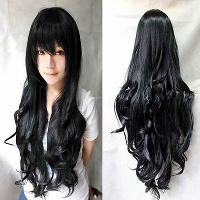 Black 80cm Long Curly Cosplay Costume Party Hair Anime Wigs Full Hair Wavy Wig