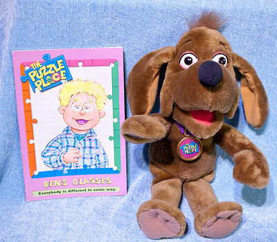 The Puzzle Place Fisher Price Nuzzle Plush Dog & Ben's Glasses Book Vintage 1994