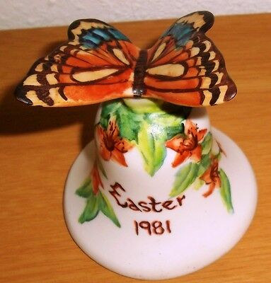 Easter 1981 ROBA 223/2000 Handpainted Bisque BUTTERFLY Bell