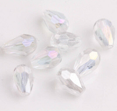100Pcs White Drop Shape Crystal Glass Spacer Beads Charm Jewelry Findings 6x4mm