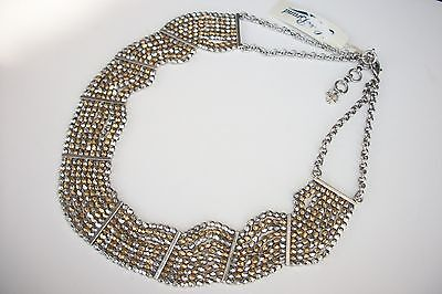 $65 Lucky Brand 'Lotus' Two Tone Beaded Nugget Beads Collar Necklace JLRU9887