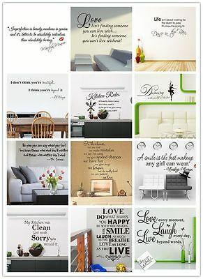 1X Removable Vinyl Wall Stickers Mural Decal Art Home Kitchen Decor DIY Quote