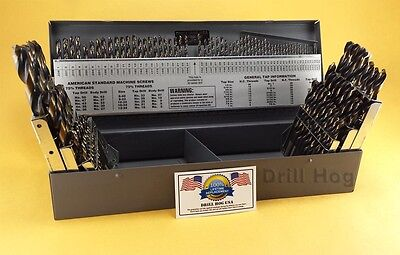 Drill Hog® 115 Pc Drill Bit Set Letter Number HI-Molybdenum M7 Lifetime Warranty