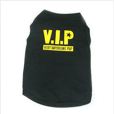 Pet Dog Clothes Black T Shirt Vest FUNNY PHRASES Type size M C