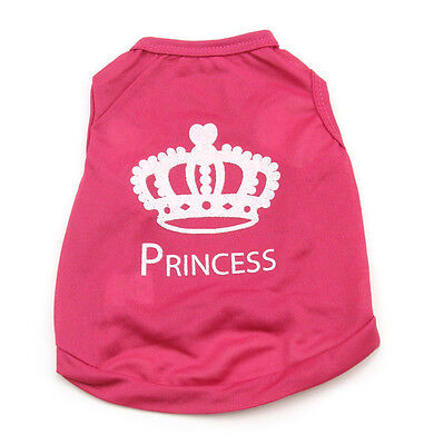 Pet Dog Clothes Rose red T Shirt Vest crown Type size M C