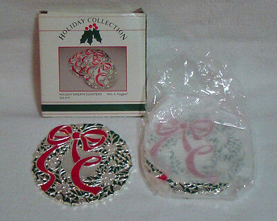 Vintage Oneida Wm A Rogers Set of 4 Silverplate Wreath Coasters with Red Bow NIB